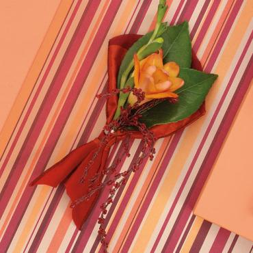 Orange Freesia and Red Accent Boutonniere
