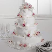 White Fondant Cake with Orchids