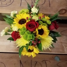 Sunflowers and Red Roses Plus