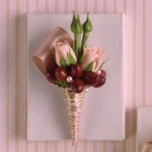 Pink and Brown Boutonniere