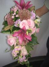 Cascading Pink Lily Plus Bridal Bouquet
