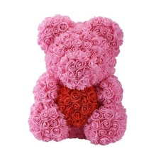 Forever Rose Bear Large Pink with Red Heart