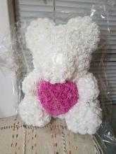 Forever Rose Bear Large White with Pink Heart