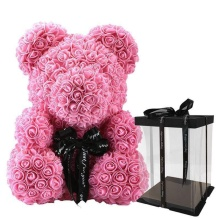 Forever Rose Bear Large Hot Pink