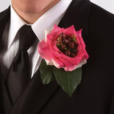 Rose and Hypericum Boutonniere