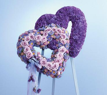 Purple Double Heart Standing Funeral Spray