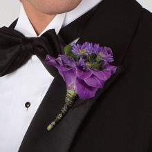 Purple Orchid and Daisy Boutonniere
