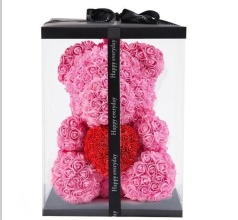 Forever Rose Bear Pink w Red Heart Includes Custom Window Box
