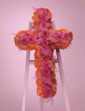 Orange Gerber Daisies and Pink Roses Cross on Standing Easel