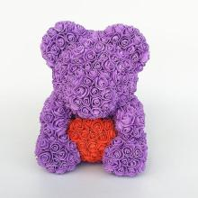 Forever Rose Bear Large Purple With Red Heart