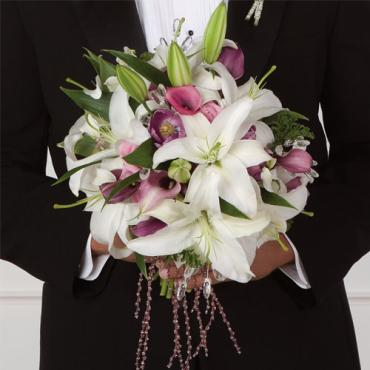Same Sex Marriage Groom Bouquet White Lily Lavender Calla Lily