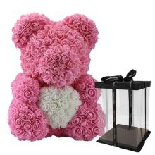 Forever Rose Bear Pink With White Heart Large