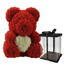 Forever Rose Bear Red With White Heart Large