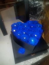 Forever Roses That Last A Year Heart Edition Electric Blue w Rhi