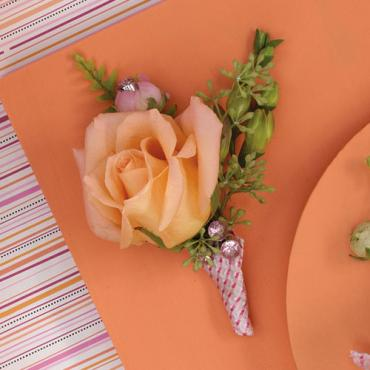 Peach Rose and Seeded Eucalyptys Boutonniere