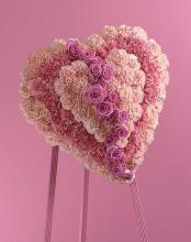 Baby Pink Heart Wreath on Standing Easel
