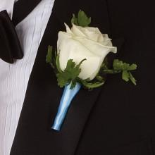 White Rose with Powder Blue Ribbon Boutonniere