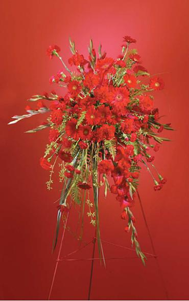 Passionate Red Funeral Arrangement