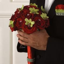 Elegant Same Sex Marriage Groom Red Rose and CymbidiumBouquet