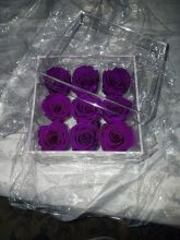 Forever Love Roses That Last A Year Acrylic Square Box Deep Purp