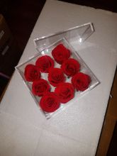 Forever Love Roses That Last A Year Square Acrylic Box Red