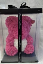 Forever Rose Bear Large Hot Pink White Heart