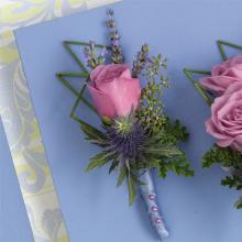 Lavender rose and Blue Thistle Boutonniere