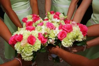 Round Hot Pink and Green Bridesmaids Bouquet