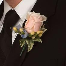 Peach Rose and Berry Boutonniere