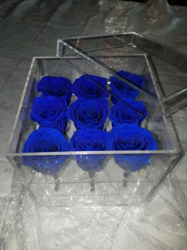 Forever Love Rose That Lasts A Year Acrylic Box Electric Blue