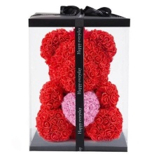 Forever Rose Bear Large Red w Pink Heart Includes Custom Box