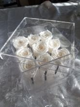 Forever Love Roses That Last A Year Square Acrylic Classic White