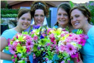 Pink and Green Bridesmaids