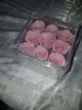 Forever Love Roses That Last A Year Acrilyc Square Box Pale Pink
