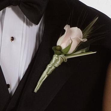 White Rose and Sage Satin Boutonniere