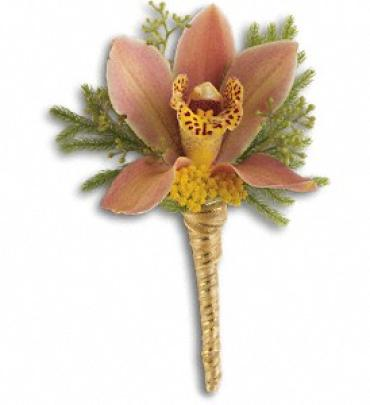 Sunset Orchid Boutonniere