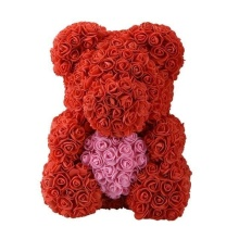 Forever Rose Bear Large Red With Pink Heart