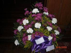 Sympathy Basket with White Carnations and Daisies