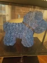 Forever Rose Bear Large Poodle - Blue
