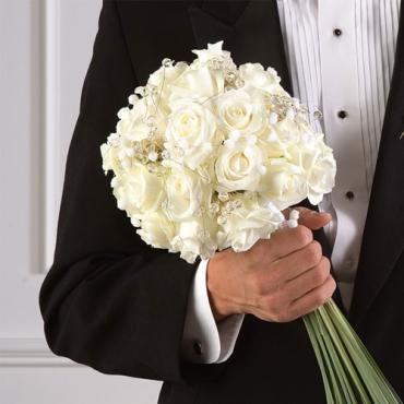 White Rose Bouquet with Grass Tail