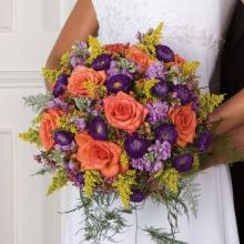 Large Round Purple Orange and Yellow Summer Bridal Bouquet