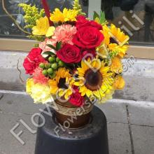 Fall Flowers In Metal Rustic Pot