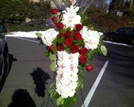 Cross With Red Roses Funeral Spray