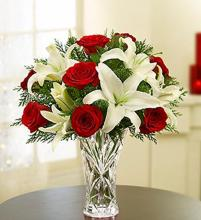 Crystal Like Vase Holiday Arrangement