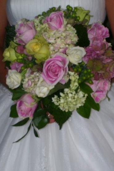 Beautiful Pink and Green Round Bridal Bouquet
