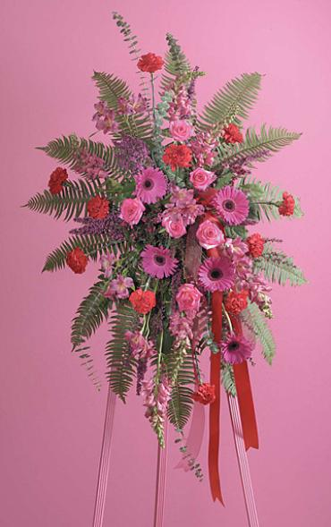 Tropical Pink Standing Funeral Spray