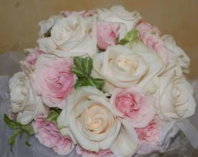 Classic White Rose and Pastel Pink Bridal Bouquet