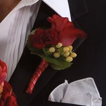 Red Rose and Carnation  Boutonniere