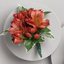 Red Alstroemeria and Berry Boutonniere