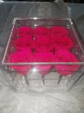 Forever Love Rose That Lasts A Year Square Acrylic Box Hot Pink